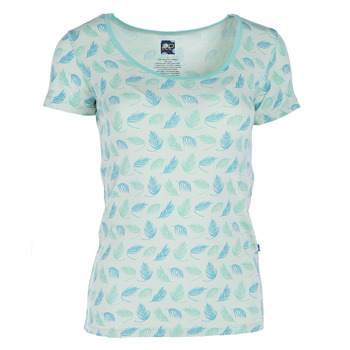 Print Short Sleeve Scoop Neck Tee in Palm Frond