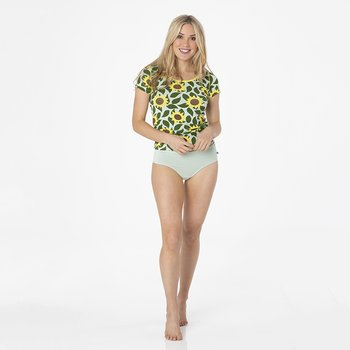 Print Short Sleeve Scoop Neck Tee in Aloe Sunflower