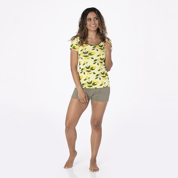Print Short Sleeve Scoop Neck Tee in Lime Blossom Lemon Tree