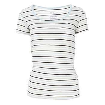 Print Short Sleeve Scoop Neck Tee in Tuscan Afternoon Stripe