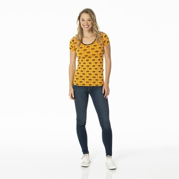 Print Short Sleeve Scoop Neck Tee in Apricot Palm Trees