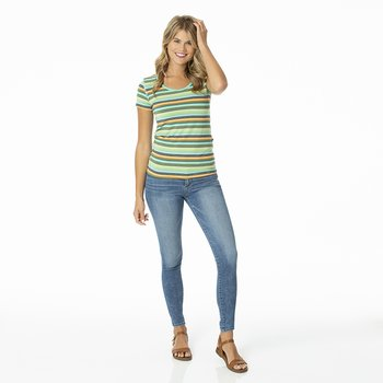 Print Short Sleeve Scoop Neck Tee in Cancun Glass Stripe