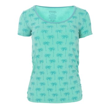 Print Short Sleeve Scoop Neck Tee in Glass Palm Trees