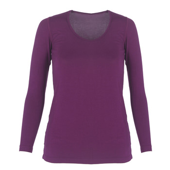 Solid Long Sleeve Scoop Neck Tee in Melody