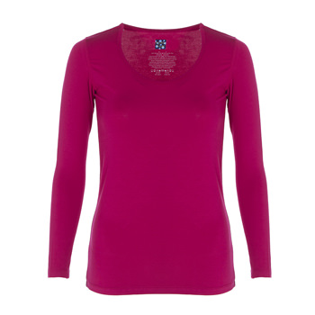 Solid Long Sleeve Scoop Neck Tee in Rhododendron