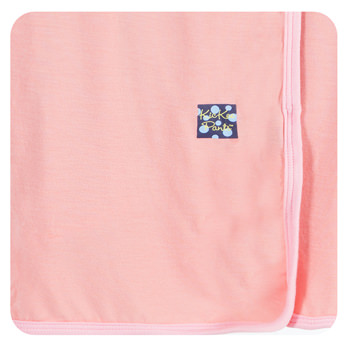 Solid Swaddling Blanket in Blush with Lotus Trim