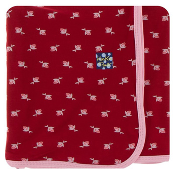 Print Swaddling Blanket in Candy Apple Rose Bud
