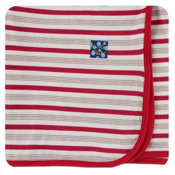 Print Swaddling Blanket in Rose Gold Candy Cane Stripe