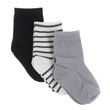 Boy Socks (Set of 3) in Midnight, Neutral Parisian Stripe and Feather