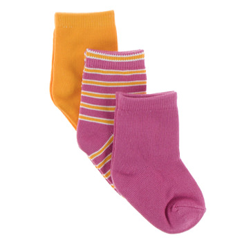Socks (Set of 3) in Tamarin, Flamingo Brazil Stripe & Flamingo
