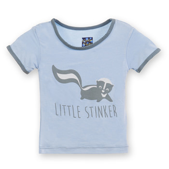 Short Sleeve Piece Print Tee in Pond Little Stinker