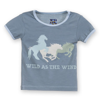 Short Sleeve Piece Print Tee in Dusty Sky Wild as the Wind
