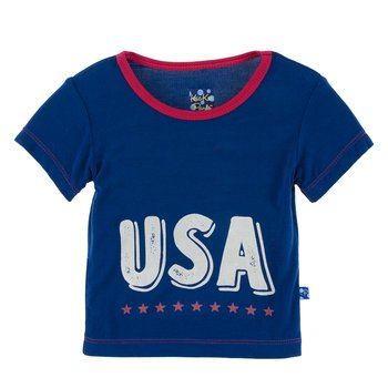Short Sleeve Piece Print Easy Fit Tee in Flag Blue USA
