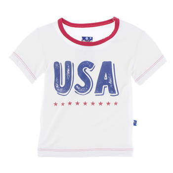 Short Sleeve Piece Print Easy Fit Tee in Natural USA