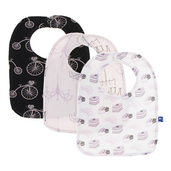 Bib Set (Set of 3) in Girl Midnight Bikes, Macaroon Chandelier and Natural Sweet Treats