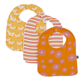 Bib Set (Set of 3) in Fuzzy Bee Ducks, Girl Freshwater Stripe & Sunset Water Lily