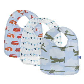 Bib Set (Set of 3) in Pond Camper, Confetti Party Flags & Pond Airplanes