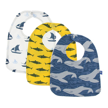 Bib Set (Set of 3) in Natural Sailboat, Lemon Shark & Twilight Whale