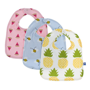Bib Set (Set of 3) in Lotus Watermelon, Pond Bees & Natural Pineapple