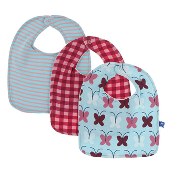 Bib Set (Set of 3) in Strawberry Stripe, Flag Red Gingham & Tallulah's Butterfly