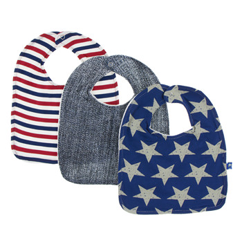 Bib Set (Set of 3) in USA Stripe, Denim & Vintage Stars