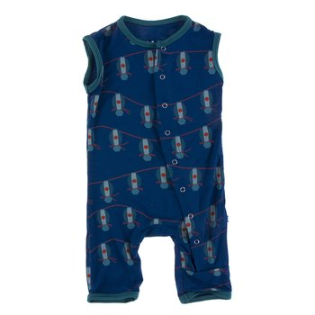 Print Tank Coverall in Navy Lantern Festival