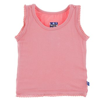 Solid Scalloped Edge Tank in Strawberry