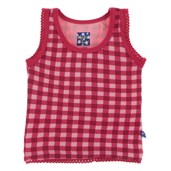 Print Undershirt Tank in Flag Red Gingham
