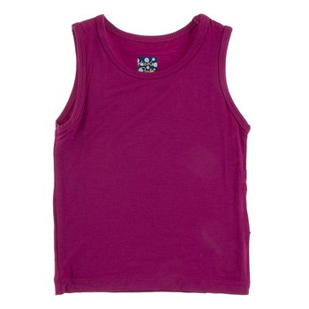 Solid Tailored Fit Tank in Berry