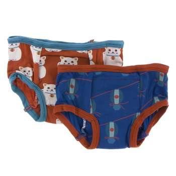 Training Pants Set in Lucky Cat & Navy Lantern Festival