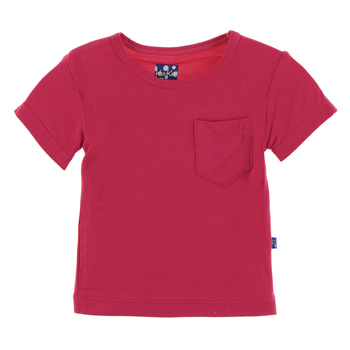 Solid Short Sleeve Tee with Pocket in Flag Red