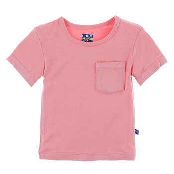 Solid Short Sleeve Tee with Pocket in Strawberry