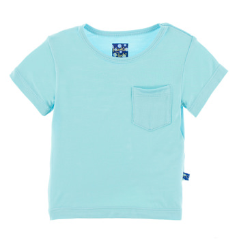 Solid Short Sleeve Tee with Pocket in Shining Sea