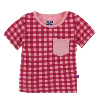 Print Short Sleeve Tee with Pocket in Flag Red Gingham