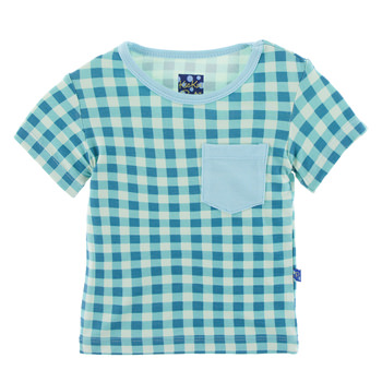 Print Short Sleeve Tee with Pocket in Pistachio Gingham