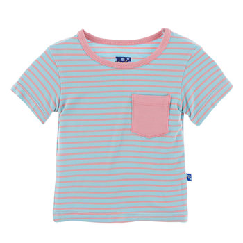 Print Short Sleeve Tee with Pocket in Strawberry Stripe