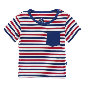 Print Short Sleeve Tee with Pocket in USA Stripe
