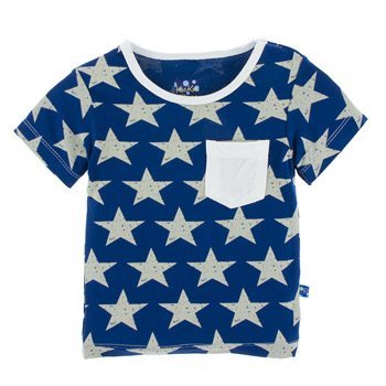 Print Short Sleeve Tee with Pocket in Vintage Stars