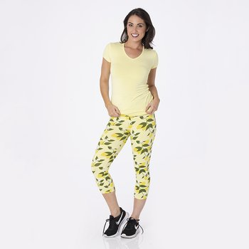 Print Women's Performance 3/4 Legging in Lime Blossom Lemon Tree