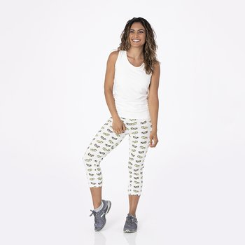 Print Women's Performance 3/4 Legging in Natural Olive Branch