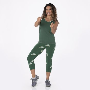 Print Women's Performance 3/4 Legging in Topiary Italian Car