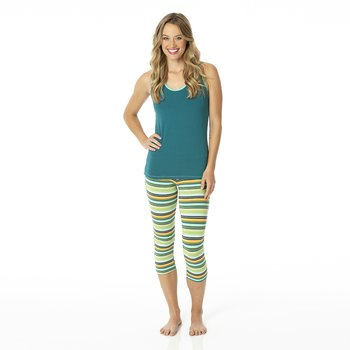 Print Women's Luxe 3/4 Leggings in Cancun Glass Stripe