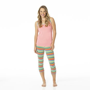 Print Women's Performance 3/4 Legging in Cancun Strawberry Stripe