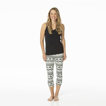 Print Women's Performance 3/4 Legging in Natural Mayan Pattern