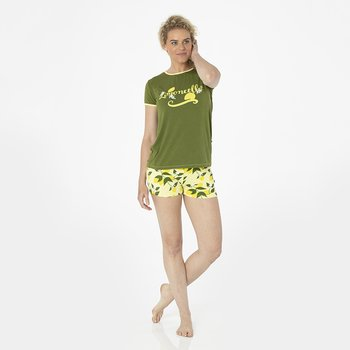 Print Women's Short Sleeve Pajama Set with Shorts in Lime Blossom Lemon Tree