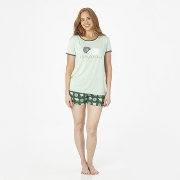 Print Women's Short Sleeve Pajama Set with Shorts in Topiary Tuscan Sheep