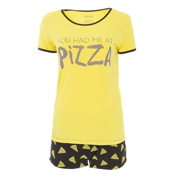 Print Women's Short Sleeve Pajama Set with Shorts in You Had Me At Pizza