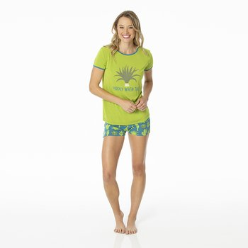 Print Women's Short Sleeve Pajama Set with Shorts in Seagrass Cactus