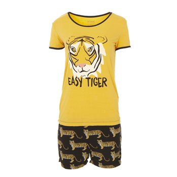 Print Women's Short Sleeve Pajama Set with Shorts in Zebra Tiger