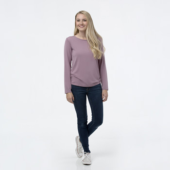 Solid Loosey Goosey Long Sleeve Tee in Elderberry